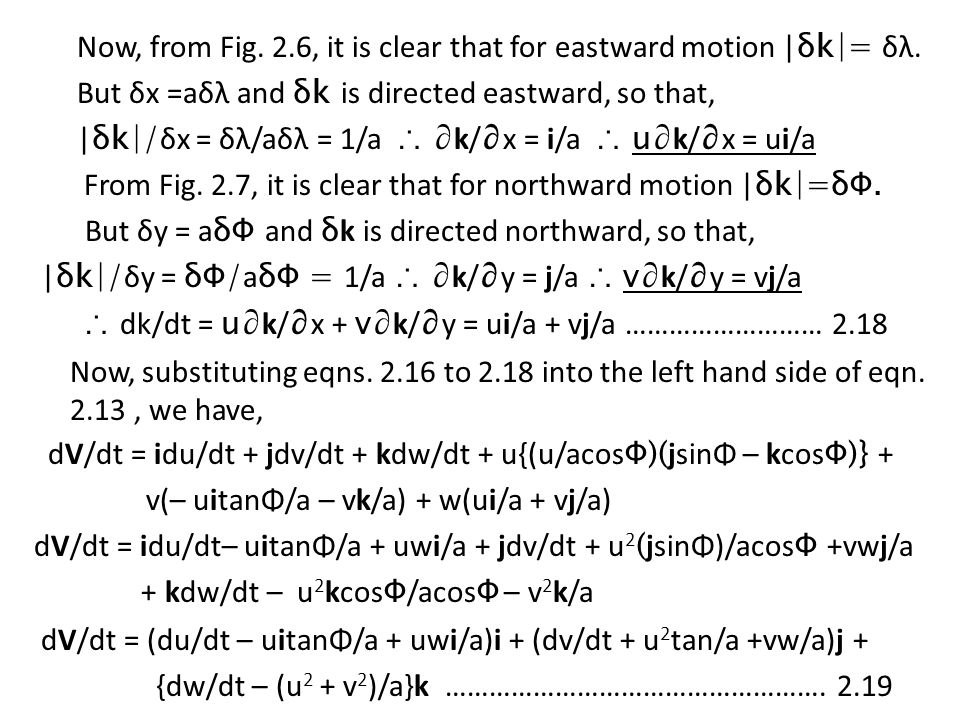 Now, from Fig. 2. 6, it is clear that for eastward motion |δk|= δλ