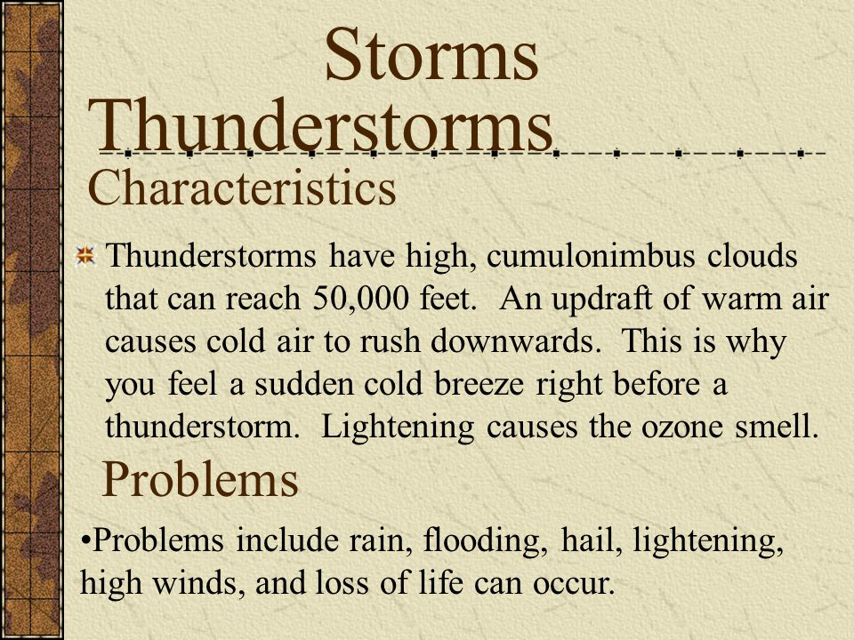 Storms Thunderstorms Characteristics Problems