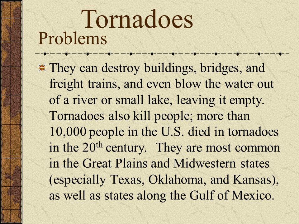 Tornadoes Problems.