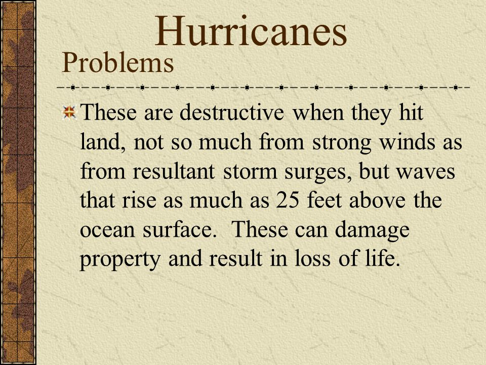 Hurricanes Problems.