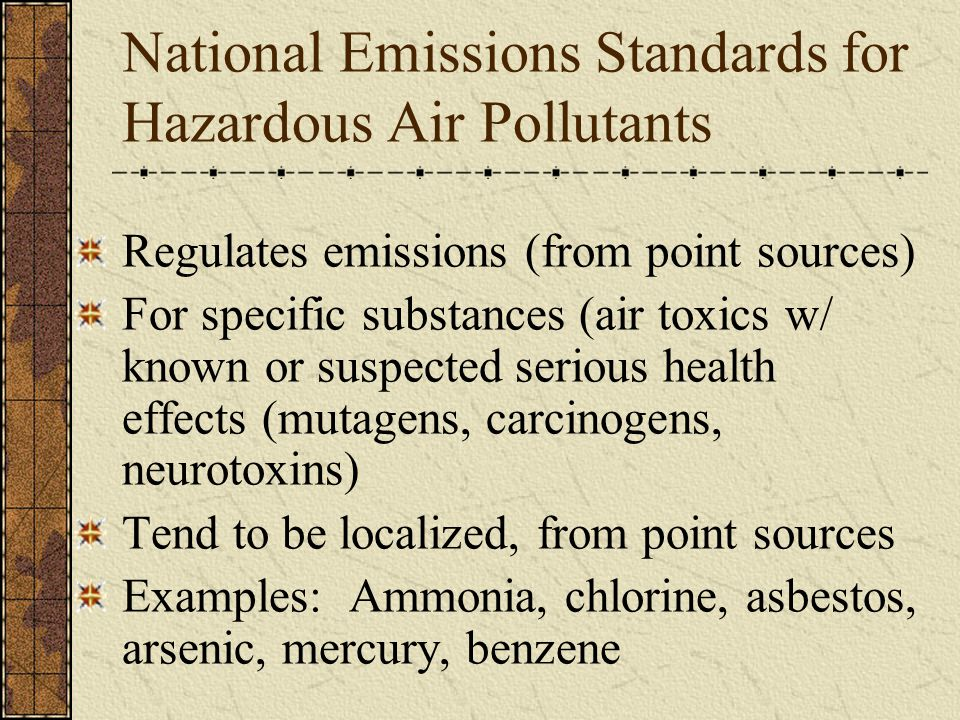 National Emissions Standards for Hazardous Air Pollutants