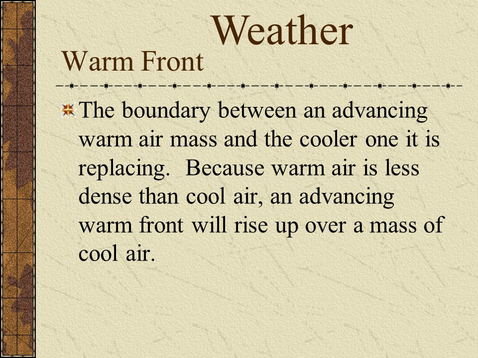Weather Warm Front.