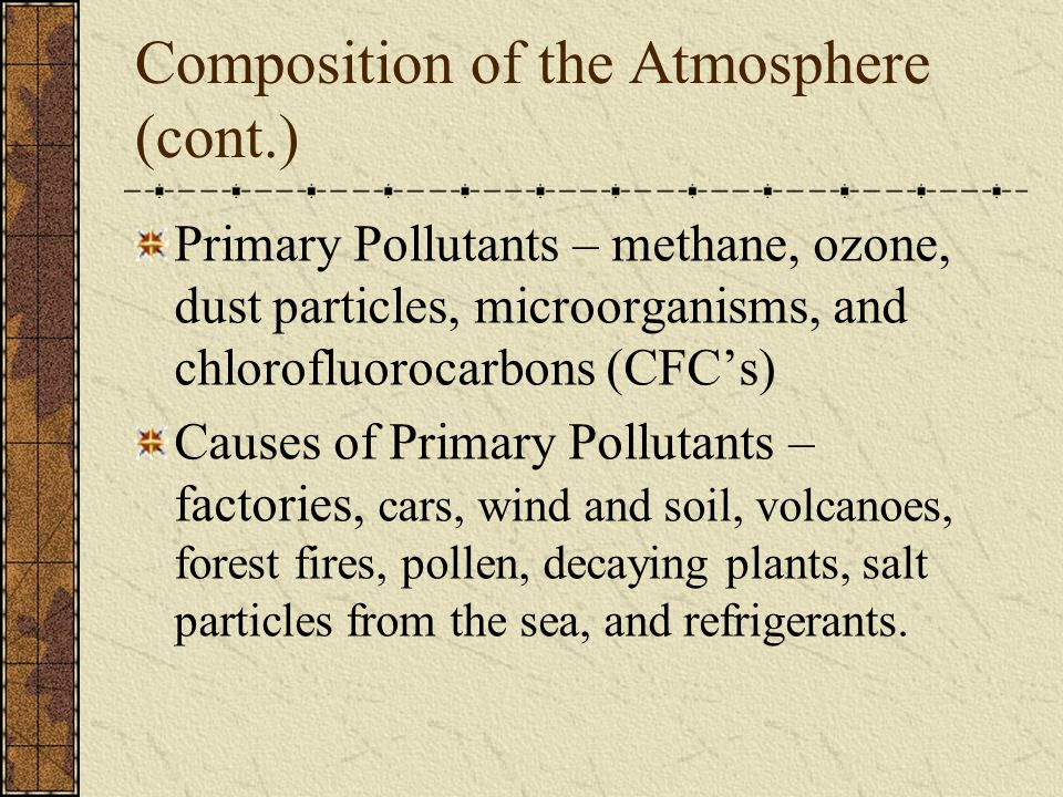 Composition of the Atmosphere (cont.)