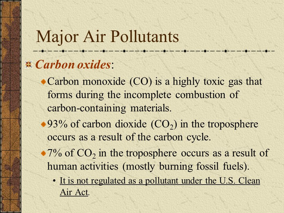 Major Air Pollutants Carbon oxides: