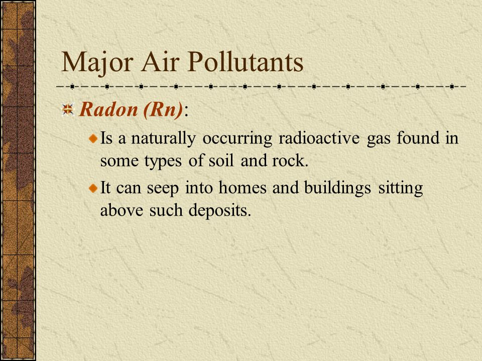 Major Air Pollutants Radon (Rn):