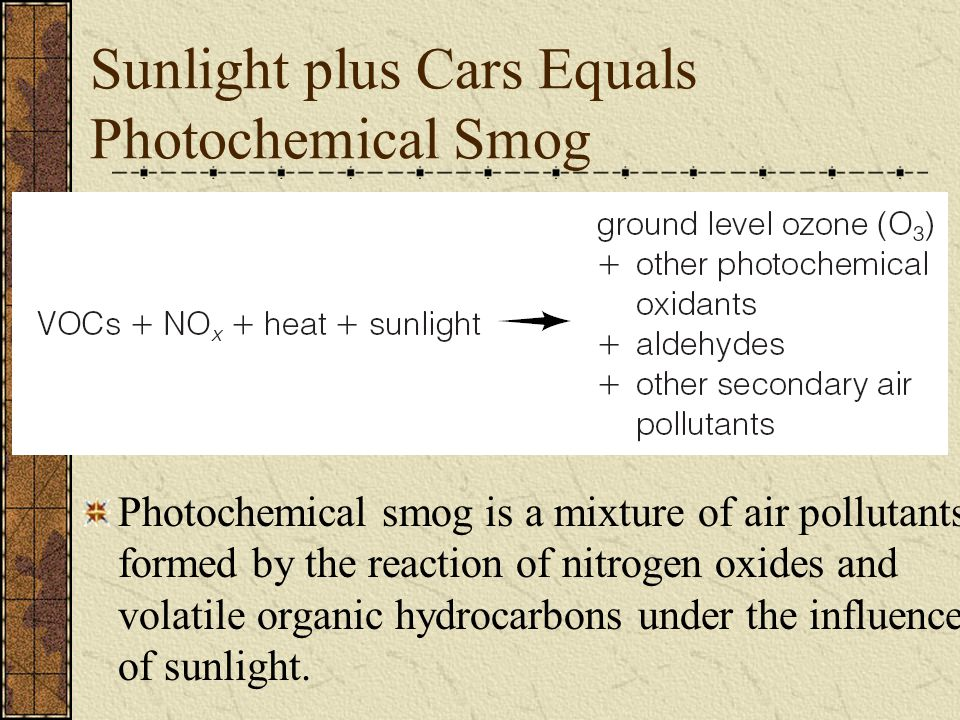 Sunlight plus Cars Equals Photochemical Smog
