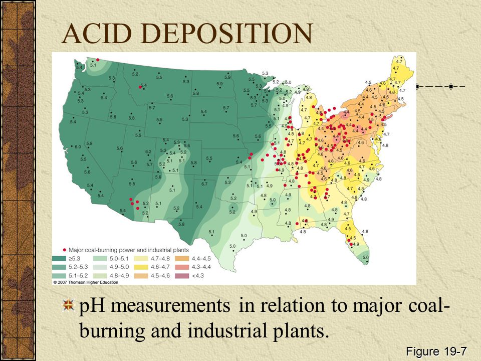 ACID DEPOSITION pH measurements in relation to major coal-burning and industrial plants.
