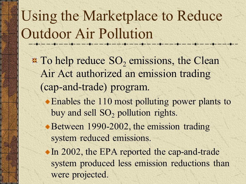 Using the Marketplace to Reduce Outdoor Air Pollution