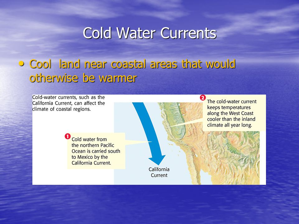 Cold Water Currents Cool land near coastal areas that would otherwise be warmer