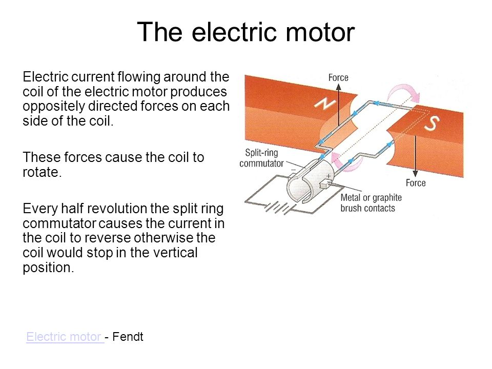The electric motor Electric current flowing around the coil of the electric motor produces oppositely directed forces on each side of the coil.
