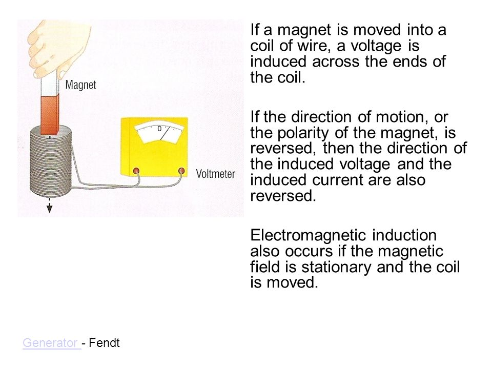 If a magnet is moved into a coil of wire, a voltage is induced across the ends of the coil.