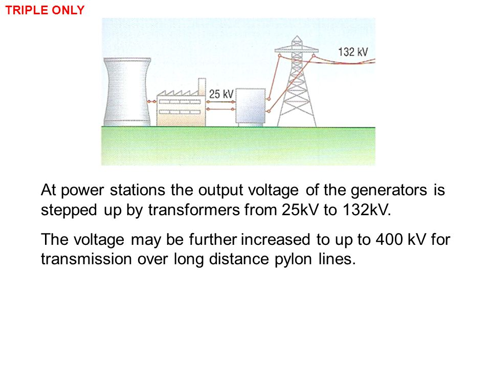 TRIPLE ONLY At power stations the output voltage of the generators is stepped up by transformers from 25kV to 132kV.