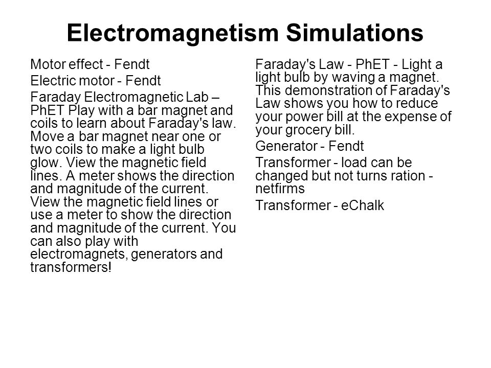 Electromagnetism Simulations