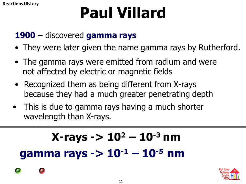 Paul Villard X-rays -> 102 – 10-3 nm