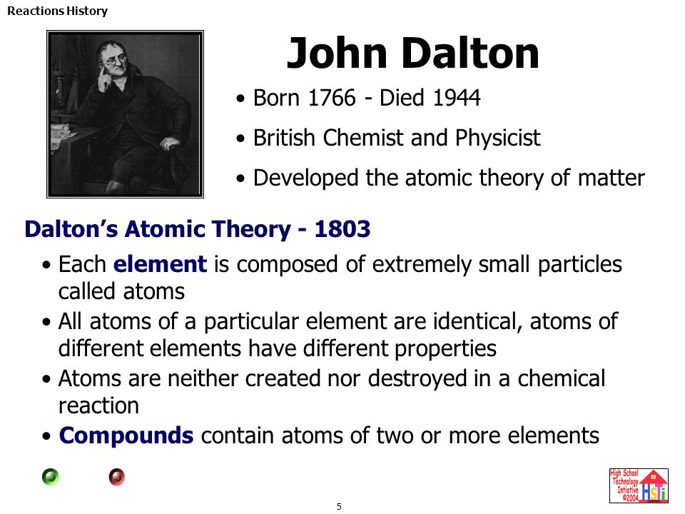 John Dalton Born 1766 - Died 1944 British Chemist and Physicist
