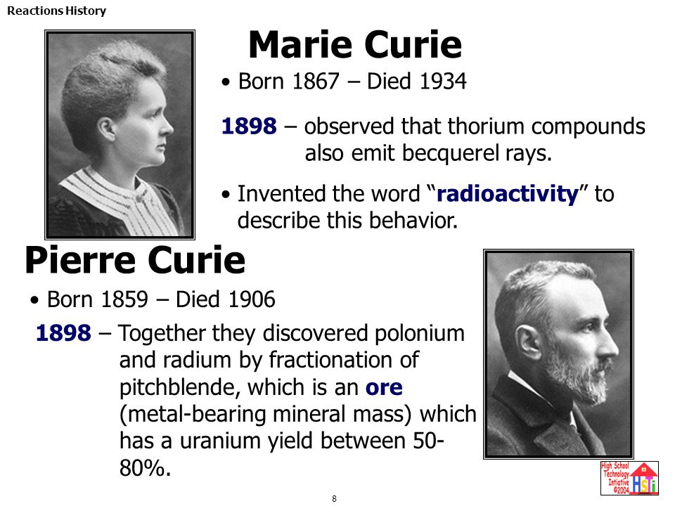 Marie Curie Pierre Curie Born 1867 – Died 1934