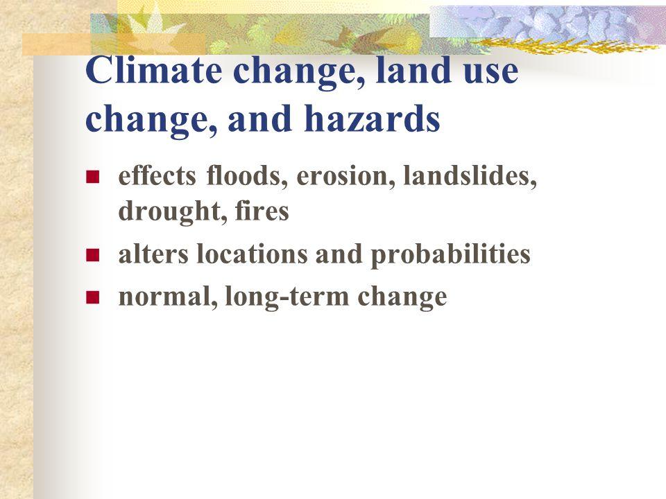 Climate change, land use change, and hazards