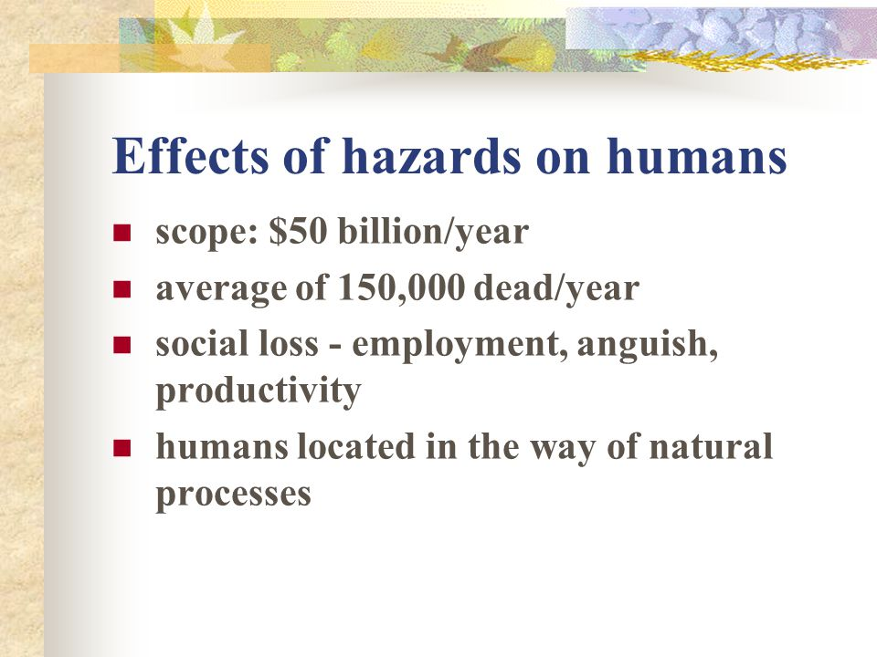 Effects of hazards on humans