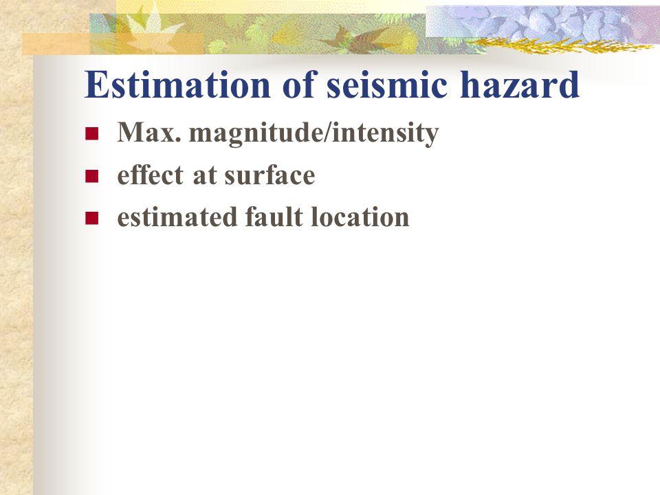 Estimation of seismic hazard