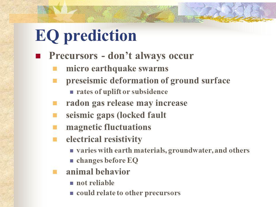 EQ prediction Precursors - don't always occur micro earthquake swarms