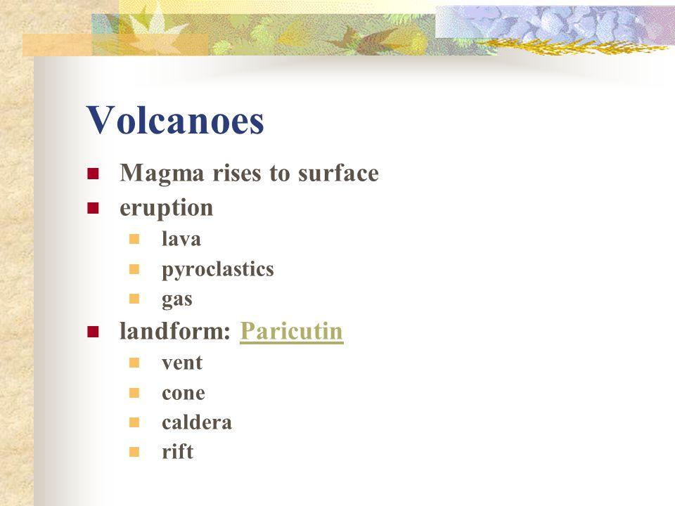 Volcanoes Magma rises to surface eruption landform: Paricutin lava