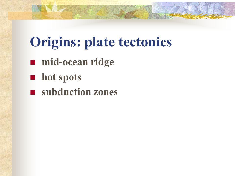 Origins: plate tectonics