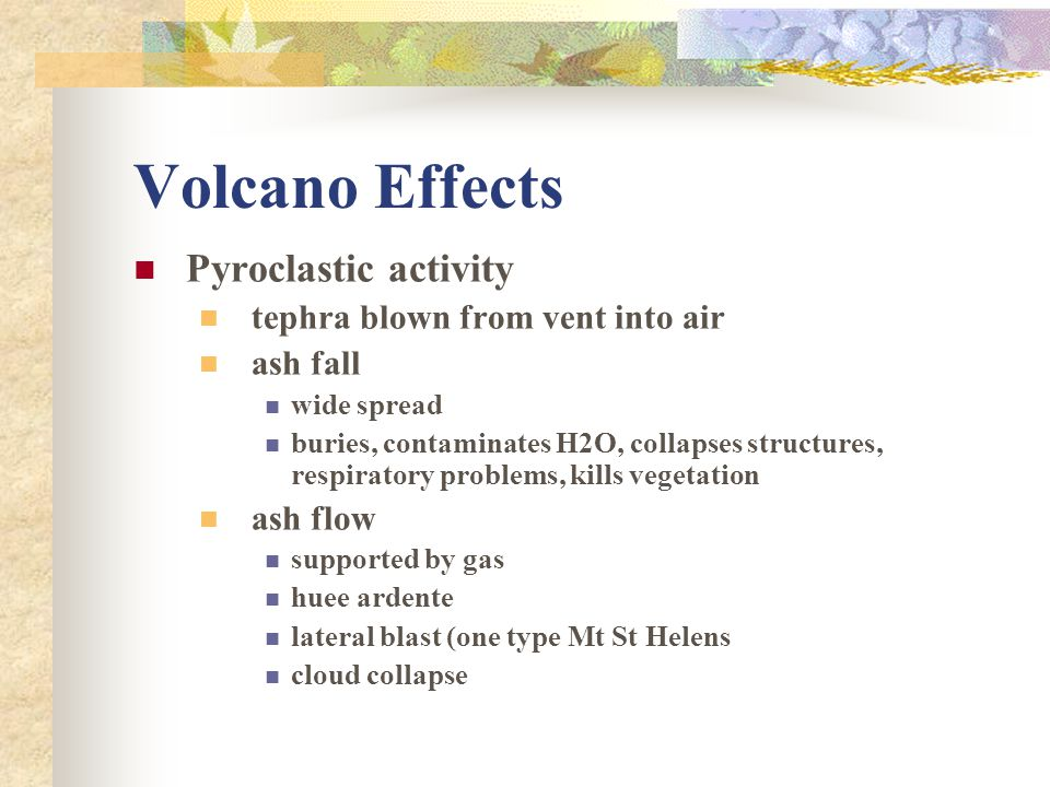 Volcano Effects Pyroclastic activity tephra blown from vent into air