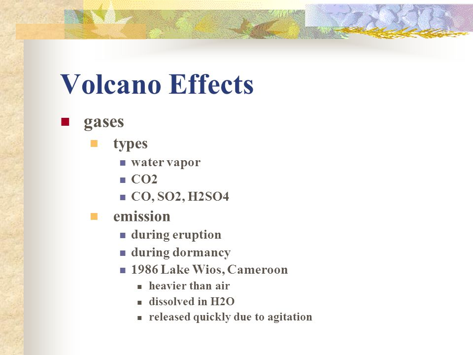 Volcano Effects gases types emission water vapor CO2 CO, SO2, H2SO4