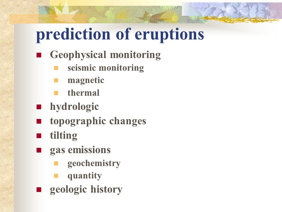prediction of eruptions