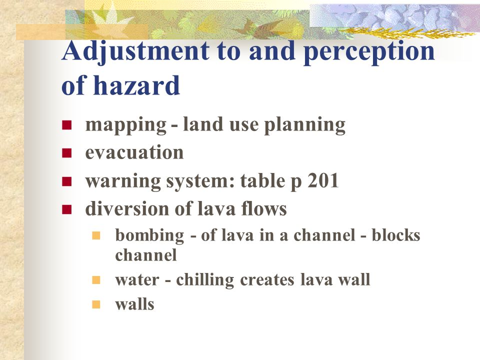 Adjustment to and perception of hazard