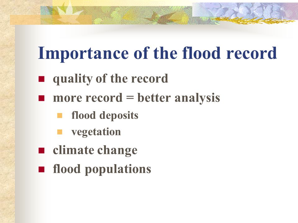 Importance of the flood record
