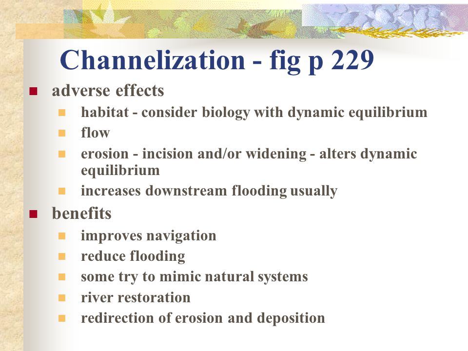 Channelization - fig p 229 adverse effects benefits