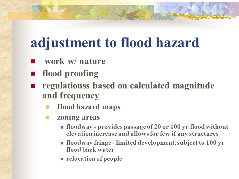 adjustment to flood hazard