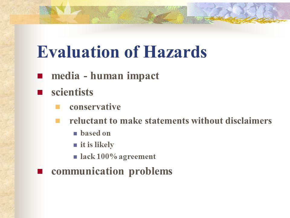 Evaluation of Hazards media - human impact scientists
