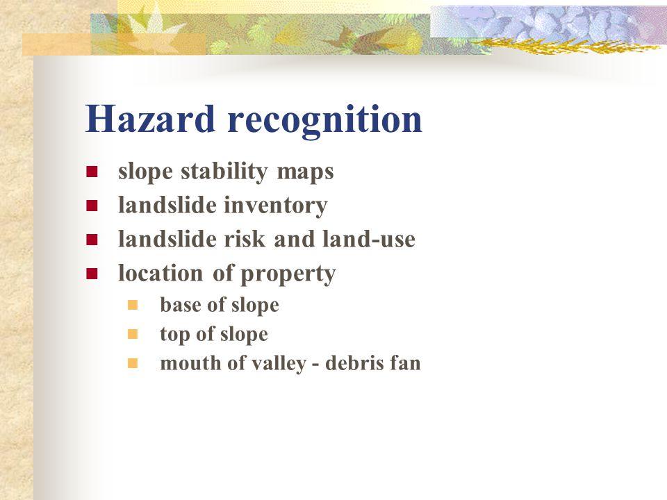 Hazard recognition slope stability maps landslide inventory