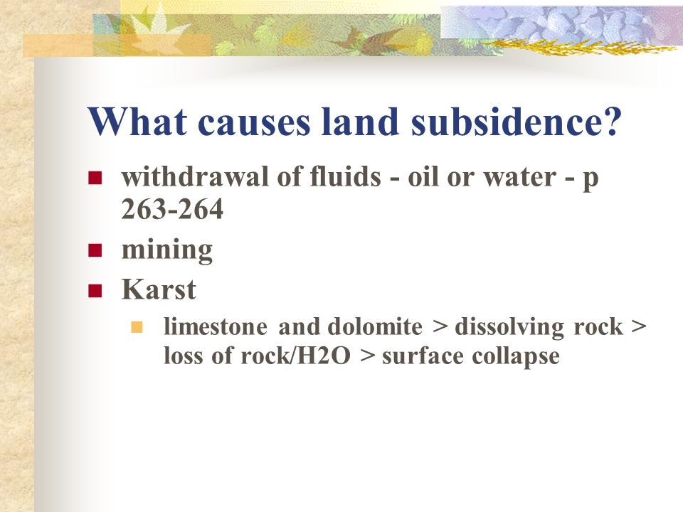 What causes land subsidence