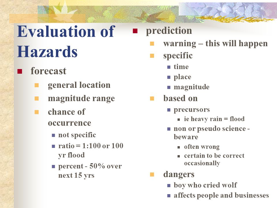 Evaluation of Hazards prediction forecast warning – this will happen