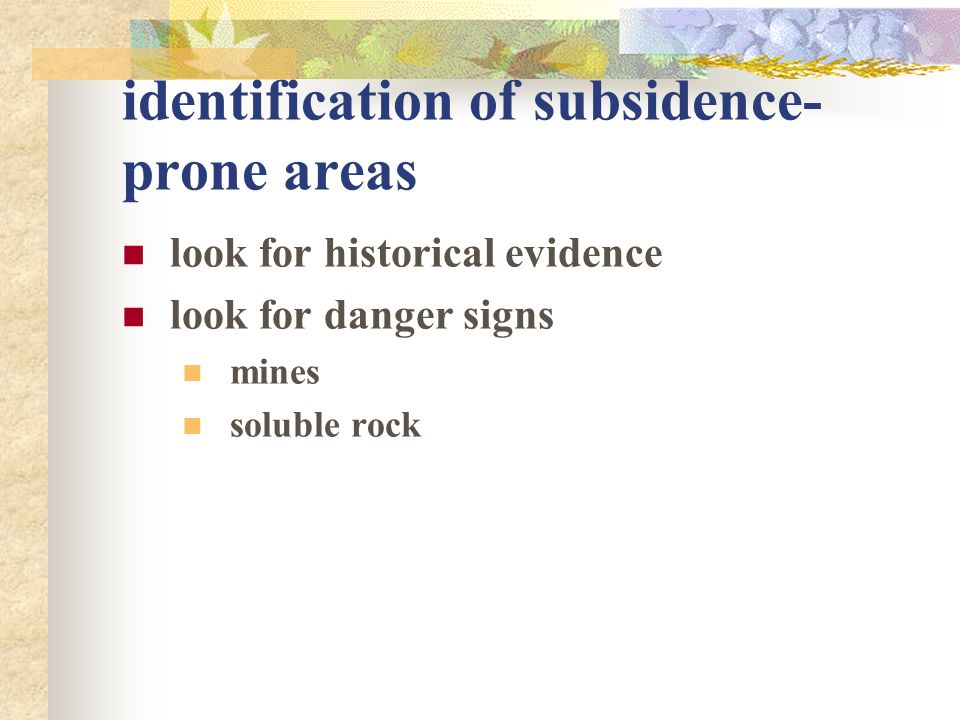 identification of subsidence-prone areas