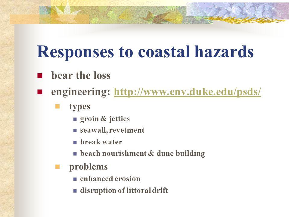 Responses to coastal hazards