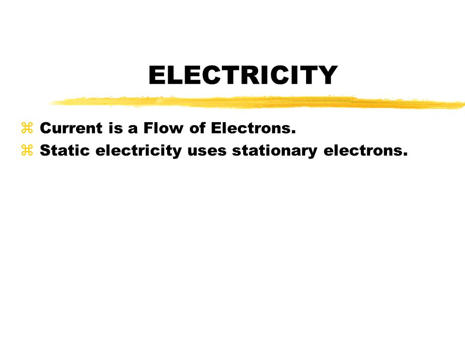ELECTRICITY Current is a Flow of Electrons.