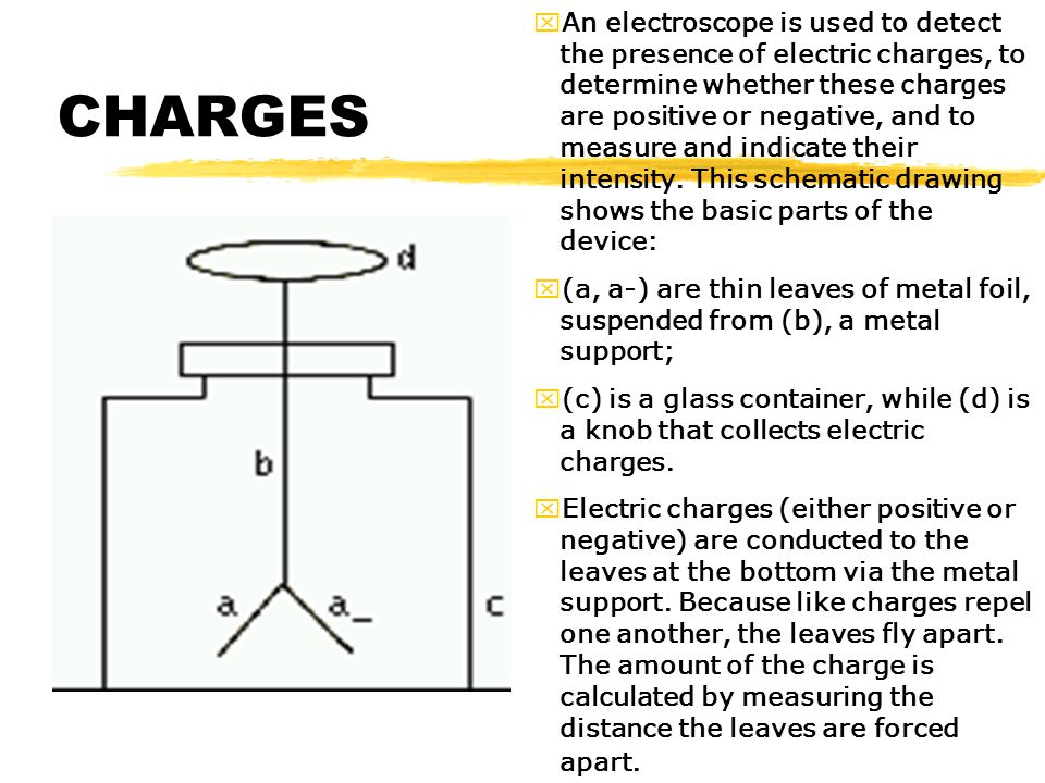 An electroscope is used to detect the presence of electric charges, to determine whether these charges are positive or negative, and to measure and indicate their intensity. This schematic drawing shows the basic parts of the device: