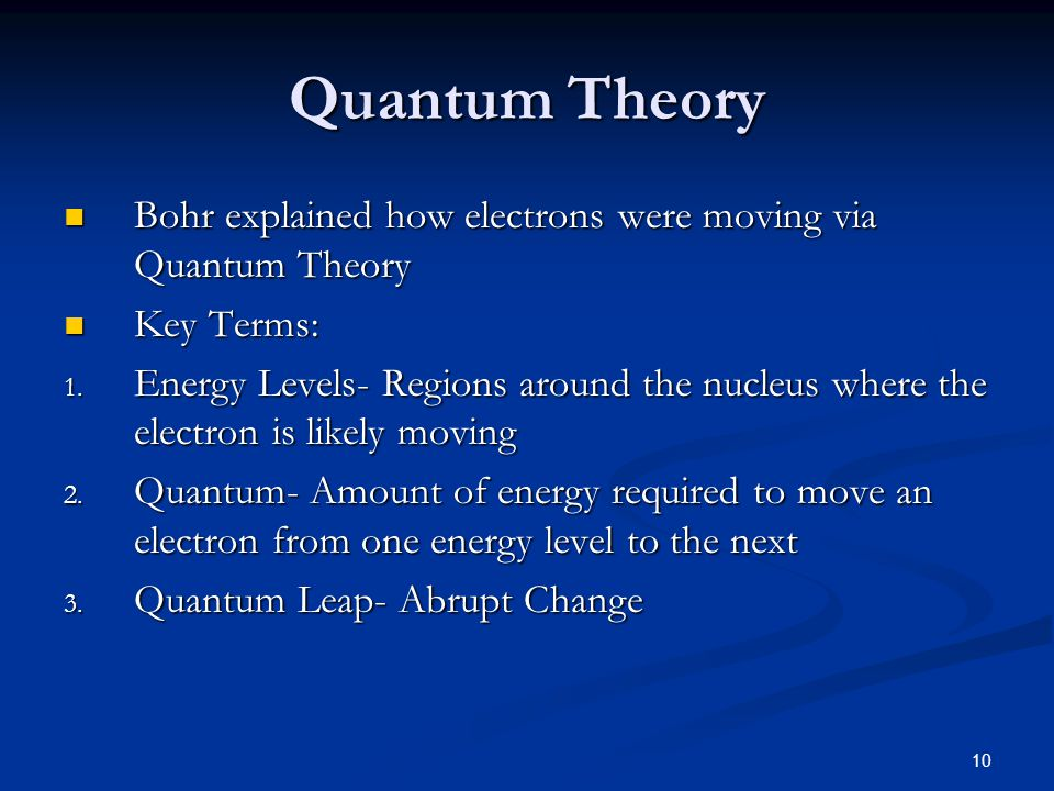 Quantum Theory Bohr explained how electrons were moving via Quantum Theory. Key Terms: