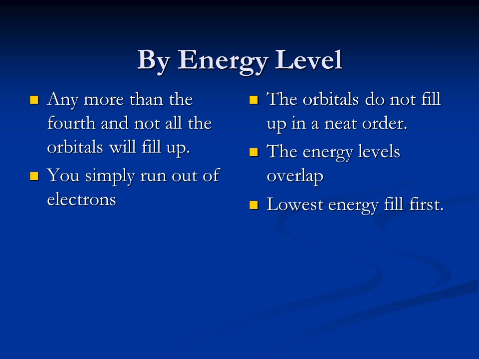 By Energy Level Any more than the fourth and not all the orbitals will fill up. You simply run out of electrons.