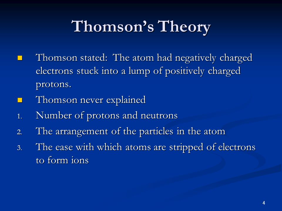 Thomson's Theory Thomson stated: The atom had negatively charged electrons stuck into a lump of positively charged protons.