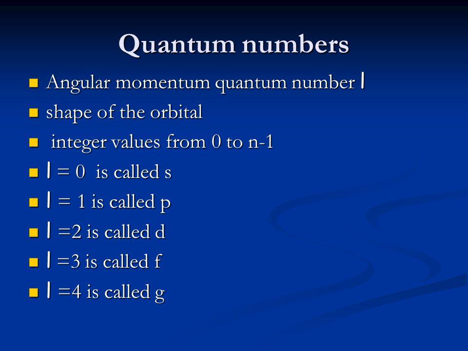 Quantum numbers Angular momentum quantum number l shape of the orbital