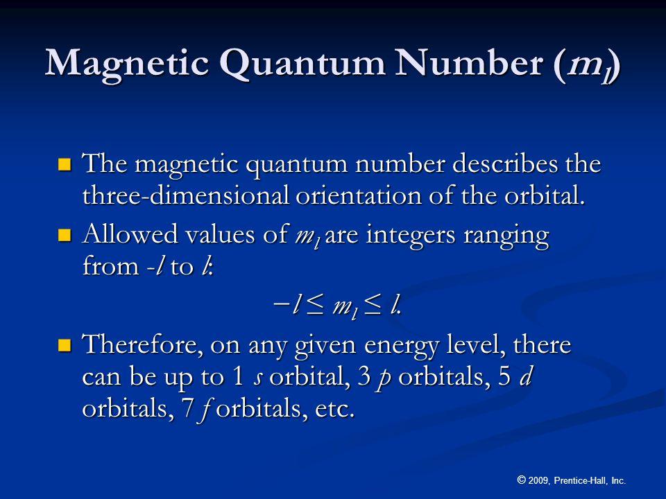 Magnetic Quantum Number (ml)