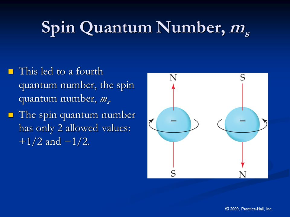 Spin Quantum Number, ms This led to a fourth quantum number, the spin quantum number, ms.