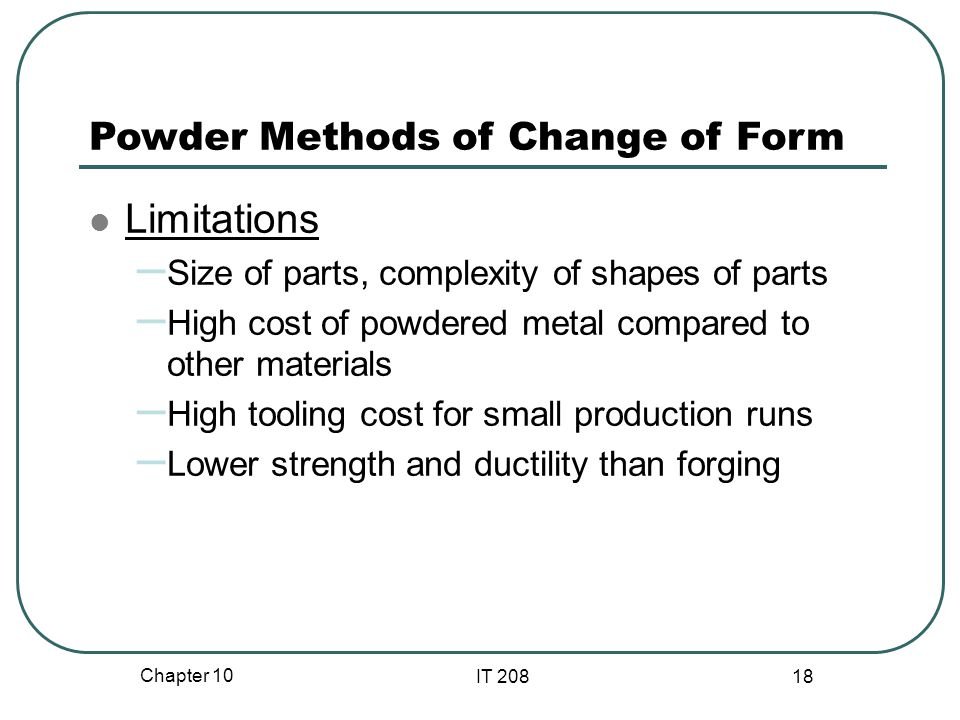 Limitations Powder Methods of Change of Form