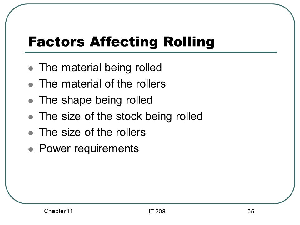 Factors Affecting Rolling