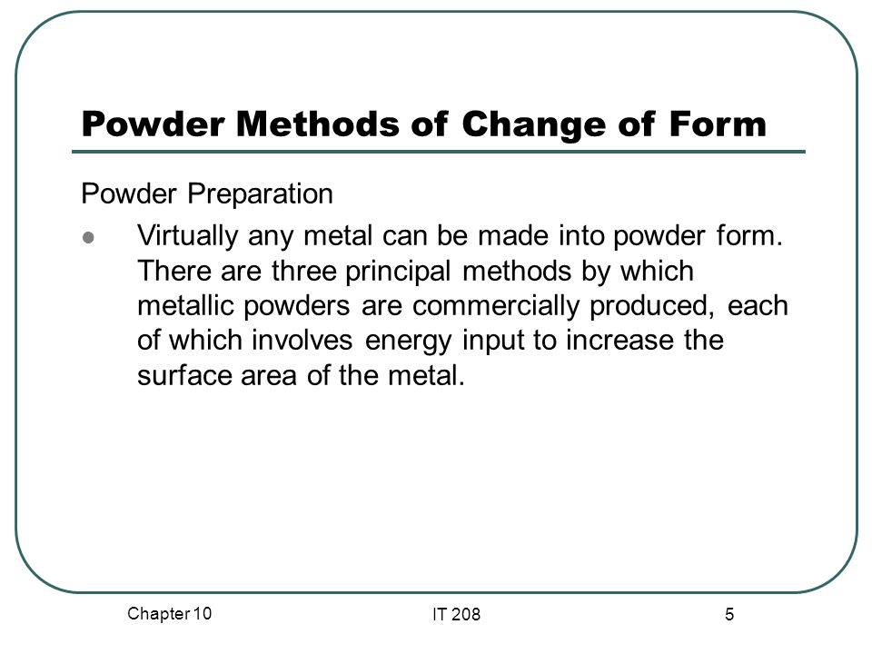 Powder Methods of Change of Form